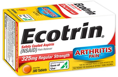 Ecotrin Safety Coated Aspirin 325 mg Regular Strength Pain Reliever - 300 Tablets, Pack of 3 by Ecotrin