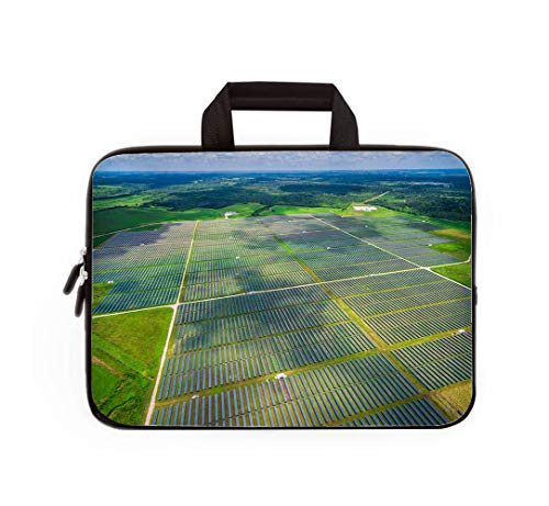 Double Zipper Laptop Bag,Aerial Central Texas Solar Energy Farm Thousands of Collectors,14 inch Canvas Waterproof Laptop Shoulder Bag Compatible with 14
