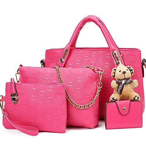 FiveloveTwo 4 Women Top Handle Hobo Card Shoulder Purse Tote Pink Pcs Bag Satchel Handbag Large Set Holder rSrxqn