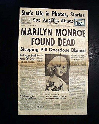 Best MARILYN MONROE Hollywood Los Angeles SUICIDE Death Dead 1962 Old Newspaper LOS ANGELES TIMES, California, August 6, 1962