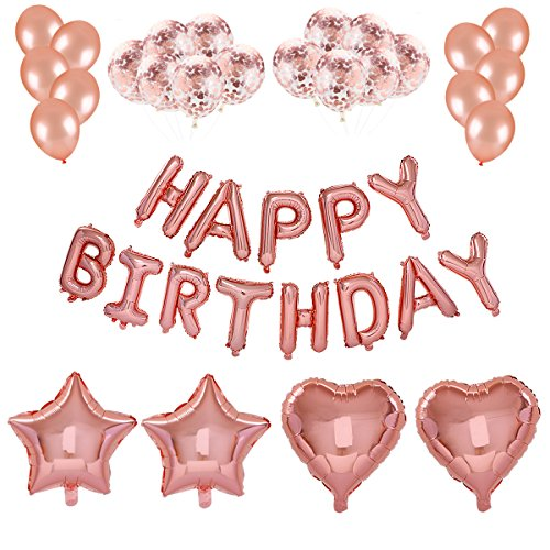 - Home Kitty Birthday Party Decorations Kits-Rose Gold HAPPY BIRTHDAY Letter Balloon Banner,Rose Gold Balloons,Rose Gold Confetti Balloons,Star & Heart Balloons, Age Birthday Party Supplies