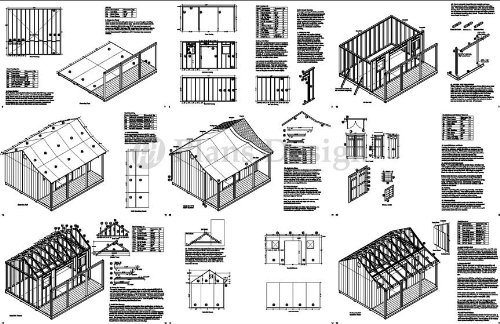 14' x 16' Storage Shed with Porch Plans for Backyard Garden - Design #P81416