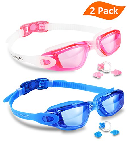 Swim Goggles, Pack of 2, EVERSPORT Swimming Glasses for Adult Men Women Youth Kids Child, Anti-Fog, UV Protection, Shatter-proof, - Swimming Glass