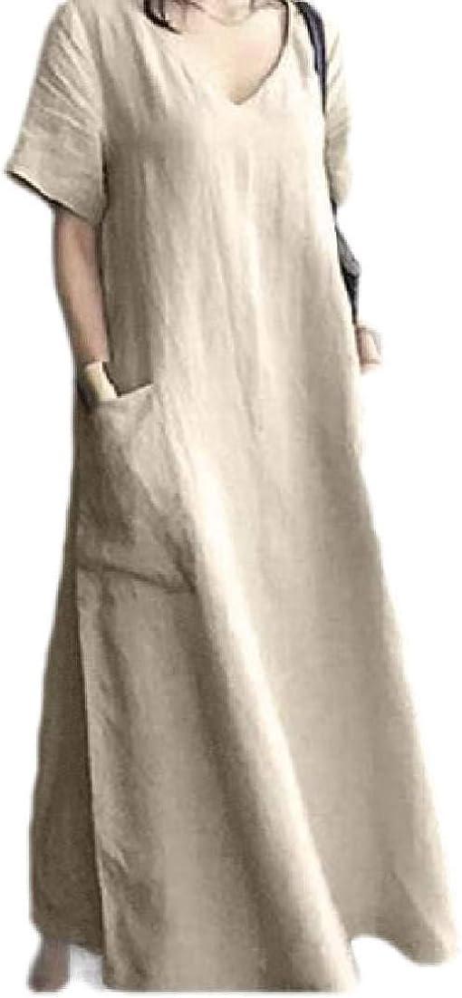 FRPE Women's Pockets V-Neck Dresses