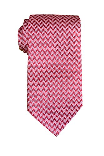 Remo Sartori Made in Italy Men's Houndstooth Check Necktie, 3.34'' Width, Silk (Pink) (Pink Check Houndstooth)
