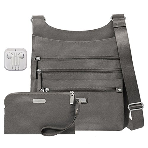 Baggallini Around Town Crossbody Handbag with RFID Wristlet Bundle with Travel Earphones (Sterling Shimmer)