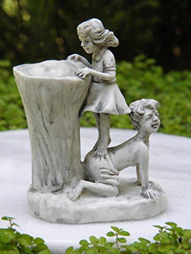 Miniature Dollhouse Fairy Garden Girl & Boy Gray Drinking Fountain Statue by Miniature