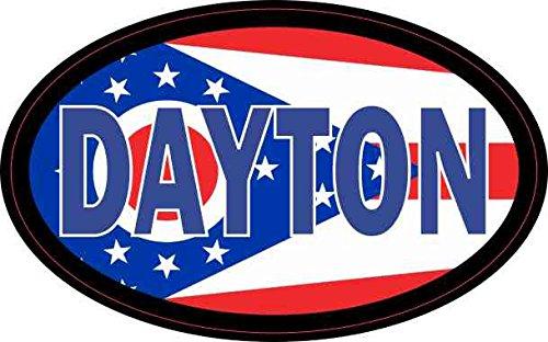 StickerTalk Oval Ohio Flag Dayton Vinyl Sticker, 4 inches by 2.5 ()