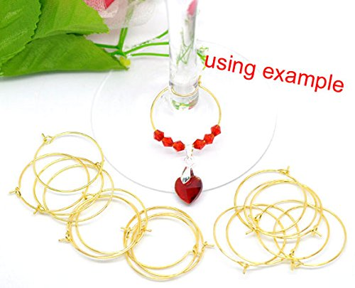- PEPPERLONELY Brand, 200 Gold-plated Brass, 25mm Beading Hoop, for Earrings or Beaded Wine Glass Charms Thin 22 Gauge Wire