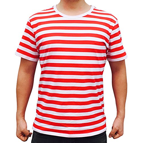 Striped Shirt Mens Short Sleeve (Ezsskj Men Boy Crew Neck Red White Striped T Shirt Tee Outfits Tops (Small, Red/White))