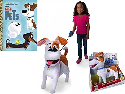 Walking Best Friend Max and a Golden Book on The Secret Life of Pets, Max Walks and Talks, Plush (Despicable Me Dog Halloween Costumes)