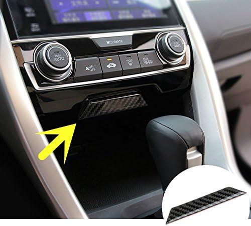 Duoles Carbon Fiber Center Console Storage Box Cover Trim For Honda Civic Si 2016-2018