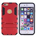 Cuitan 2 in 1 Dual Layer Hybrid Case for iPhone 6 Plus / 6S Plus, TPU Soft Bumper and PC Hard Back Cover Built-in Kickstand Design Armor Rugged Defender Protective Shell Cover Protection Sleeve with Stylus (Random Color) for Apple iPhone 6 Plus / 6S Plus 5.5 inch - Red