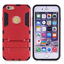 Cuitan 2 in 1 Dual Layer Hybrid Case for iPhone 5S / 5 / 5G, TPU Soft Bumper and PC Hard Back Cover Built-in Kickstand Design Armor Rugged Defender Protective Shell Cover Protection Sleeve with Stylus (Random Color) for Apple iPhone 5S / 5 / 5G - Red