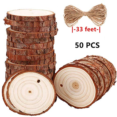 Liuba 50 Pcs 2.8-3.2 inch Wood Slices for Centerpieces - 33 Feet Natural Jute Twine for Hole to Hang, Rustic Decor Wooden Rounds, Log Discs for Charger Circles, Wood Plates, -