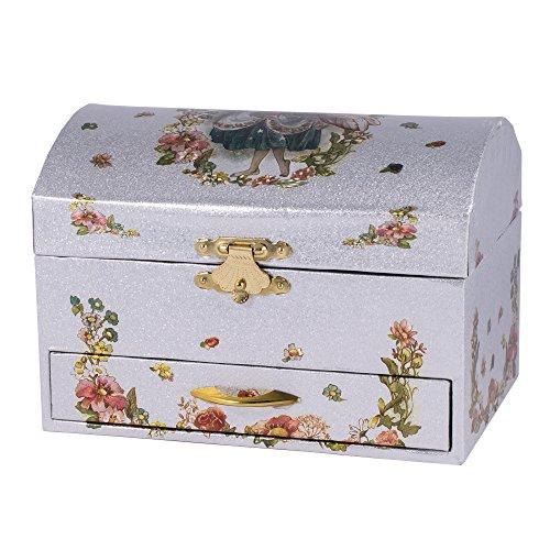 Floral Music Jewelry Box (Children's Musical Jewelry Music Box Spinning Ballerina Flowers Plays Swan)