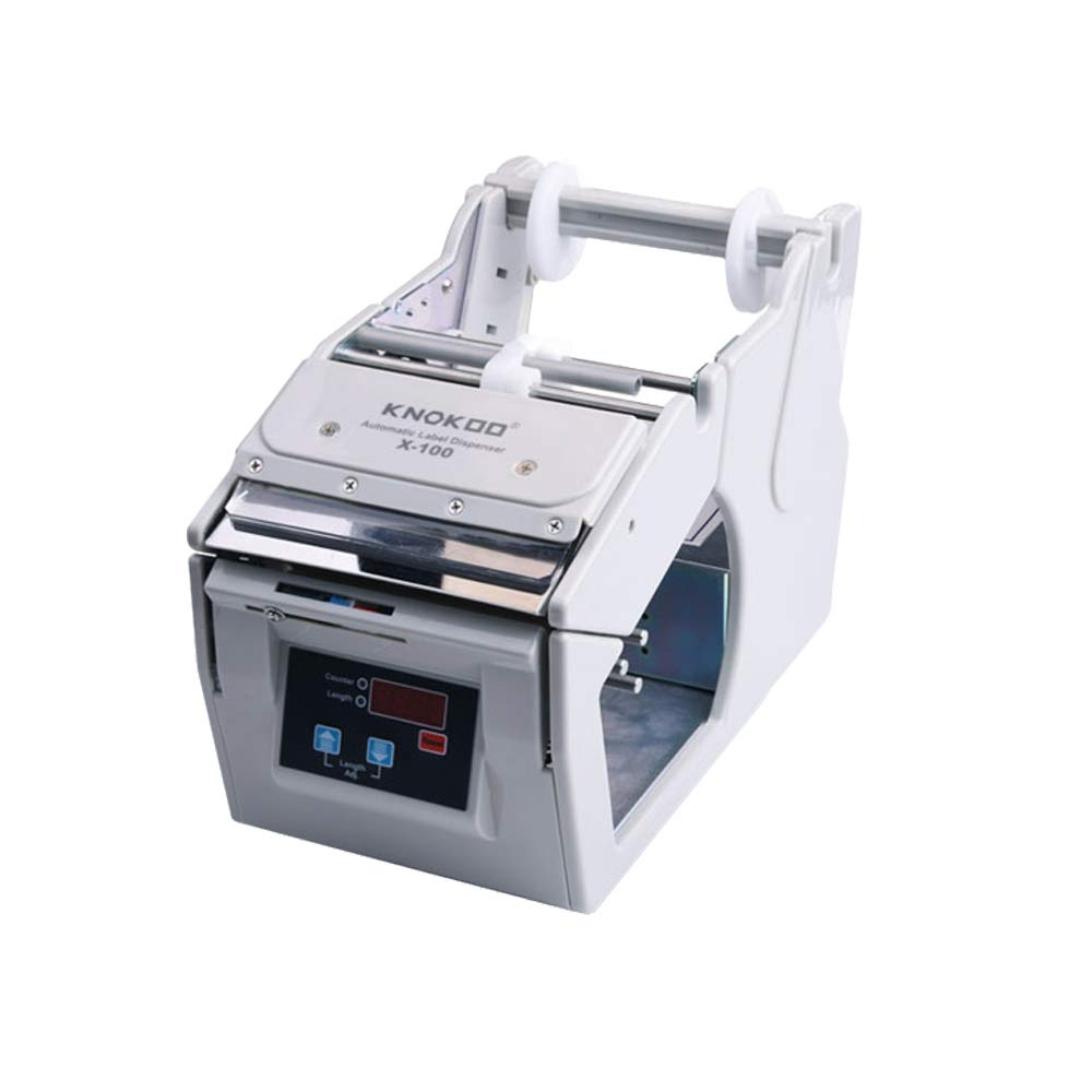 KNOKOO Dispensador automático de etiquetas X-100 Electronic Speed Control Sticking Etiquetado Máquina utilizada para 5-100 mm de ancho, 250 mm max.dia. ...