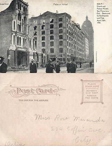SAN FRANCISCO CA 1906 EARTHQUAKE FIRE GRAND & PALACE HOTELS ANTIQUE POSTCARD
