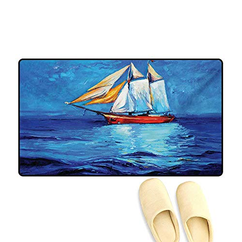 Bath Mat,Oil Painting Style Sailship Frigate Floating on The Sea Modern Impressionism Artwork,Door Mat Indoors,Multicolor,16