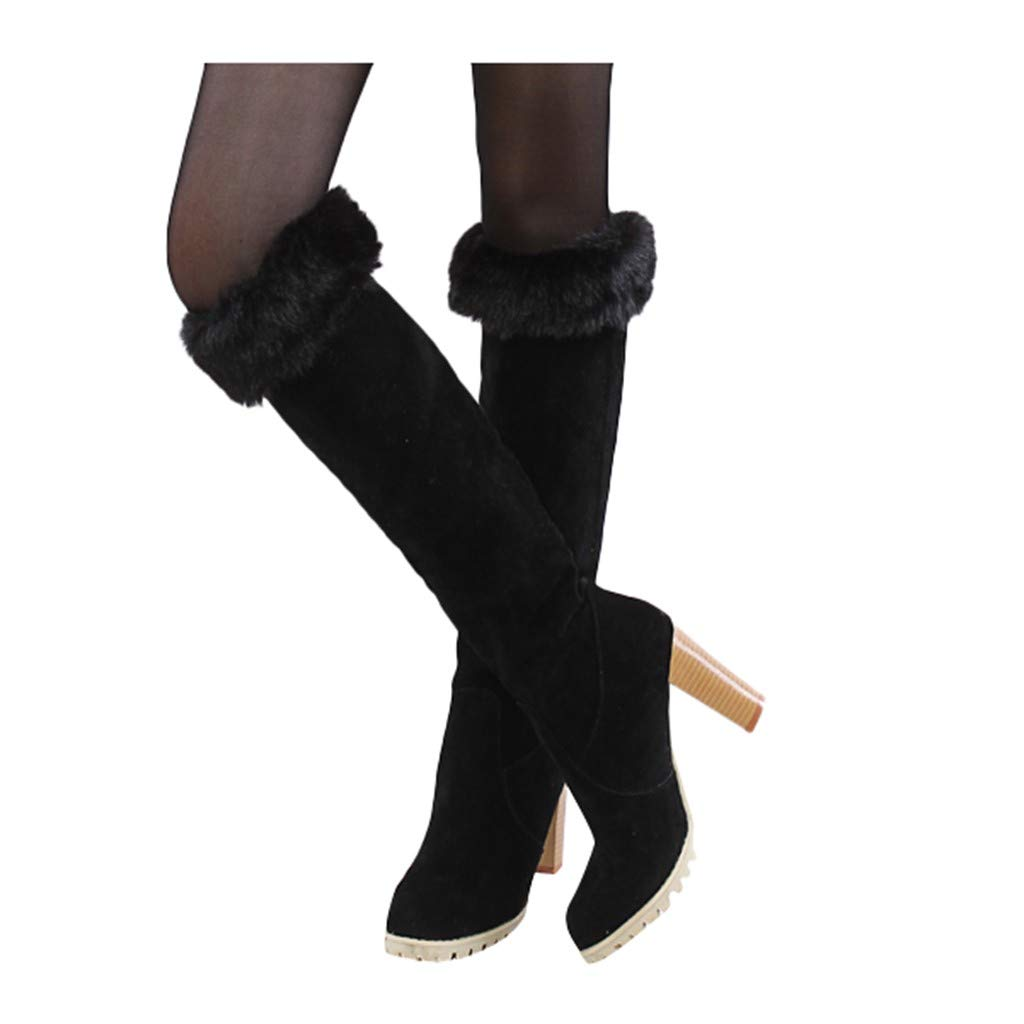 Dainzuy Women's Knee High Boots Winter Warm Flatform Knee Boots Thick Warm High Riding Boots with Fur Lined Black by Dainzuy Women's Shoes