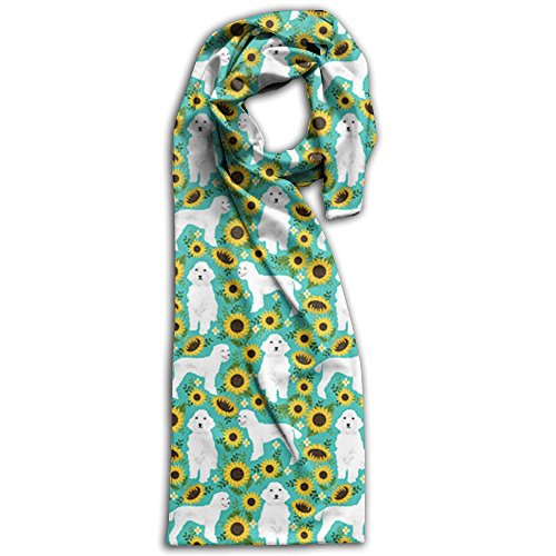 White Poodle Scarf (Sunflower Poodle Scarf Scarfs Scarves Double Sided Printing)