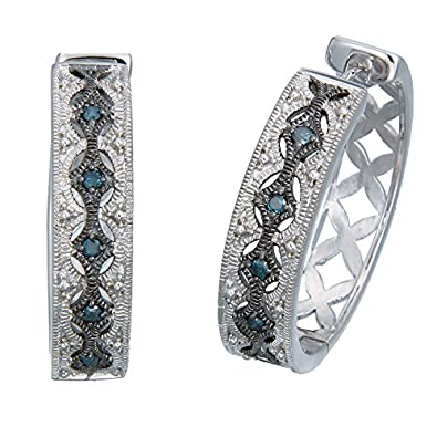 Sterling Silver Blue Diamond Hoop Earrings (1/4 CT)