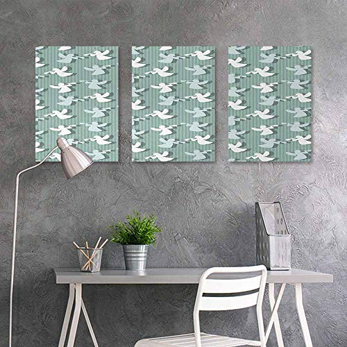 BE.SUN Pattern Oil Painting,Angel,Christmas Angels Silhouettes on Striped Background Noel Yule Theme,Oil Canvas Painting Wall Art 3 Panels,24x35inchx3pcs,Pale and Almond Green White