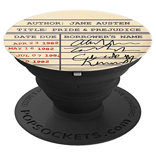 Library Card Pride and Prejudice Gift for Jane Austen Fans - PopSockets Grip and Stand for Phones and Tablets
