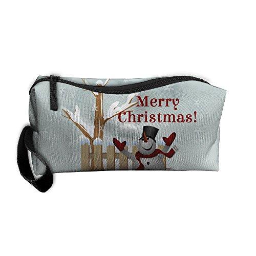 Kla Ju Portable Pen Bag Purse Pouch Snowman Picture Stationery Storage Organizer Cosmetic Holder ()