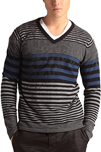 Ed Hardy Mens Stripped Signature Print V-neck Sweater - Grey Royal Blue - (Ed Hardy Men Sweater)