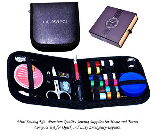 LK-CRAFTS Mini Sewing Kit - Retractable Tape with Premium All Basic Sewing Supplies for Home & Travel. Portable and Compact for Quick and Easy Emergency Repairs, Crafts/Projects with Elegant Gift Box.