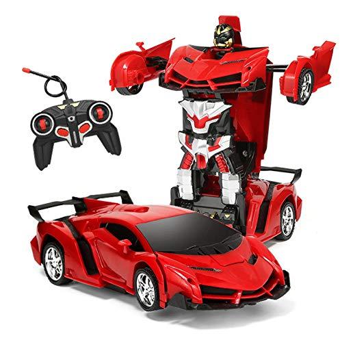 Locke Teddy 1:18 Model RC Car,Transformation Car Toy, RC Car One Button Deformation into Robot,Remote Control Car Transforming Robot, Deformation Toys Transform Car Robot for Kids