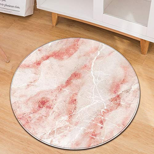 Weiliru Fashion Marble Pattern Round Flannel Area Rugs Pads, Play Nursery Mat for Kids,Yoga Mat for Women Living Room Area Carpet Bedroom (Round)