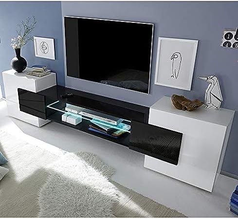 Kasalinea Eros 3 - Mueble para televisor, Color Blanco y Negro: Amazon.es: Hogar