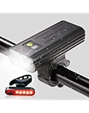 EBUYFIRE 5 LED cykelljus 5200 mAh batteri cykel framljus och bakljus set USB uppladdningsbar IPX6 vattentät cykel strålkastare passar för cykling berg Mtb väg