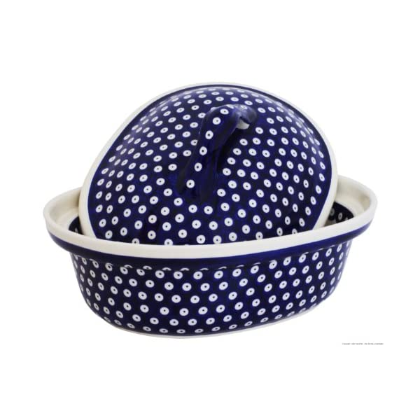Boleslawiec Pottery Roasting pan with Lid, 1.2L, Original Bunzlauer Keramik, Decor 42