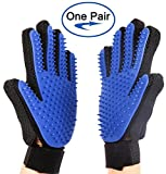 Acuty Pet Grooming Gloves, Pet Hair Removal Gentle Deshedding Brush Massage Tool with Adjustable Wrist Strap for Long Short Fur Dogs Cats Horses Storage Bag Included- 3 Pack