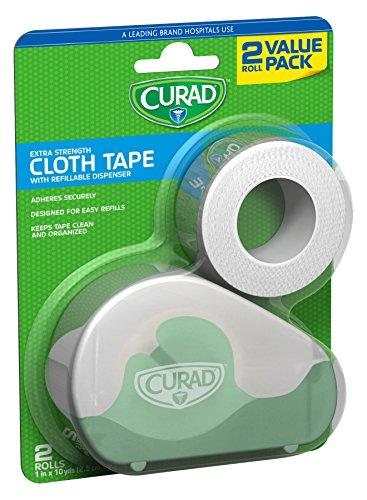 Curad Cloth Tape with Refillable Dispenser, Bonus Roll, 2 Count