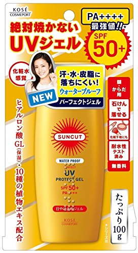 KOSE ・New Waterproof | SunCut Perfect UV Protect Gel SPF 50 + PA ++++ 100g ( Colorless and transparent type | Easy wash ()