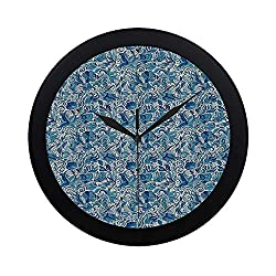 C COABALLA Floral Circular Plastic Wall Clock,Turkish Ceramic Art Swirled Nature Leaves Middle Eastern Design Print Decorative for Home,9.65 D