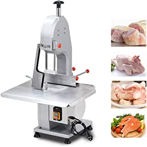 Electric Bone Cutting Machine, Commercial Frozen Meat Slicer, Table Saw Deli Meat Grinder Band Saw Blades Meat Cutter Thickness Adjustable for Cutting Fish Trotters Steak Frozen Meat Bone (1500W)