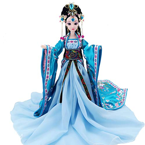 Udecoroption Chinese Doll with Ancient Costume Oriental Silk Dressed Up Figurine Doll Statue for Desktop Decor in Bedroom ()