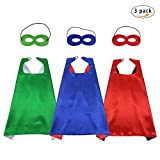 Fly Childhood 70cm Kids Superhero Capes and Masks Costume Reversible Dual Color for Boys Girls Fancy Dress Up Party Supplies (3 Pack)