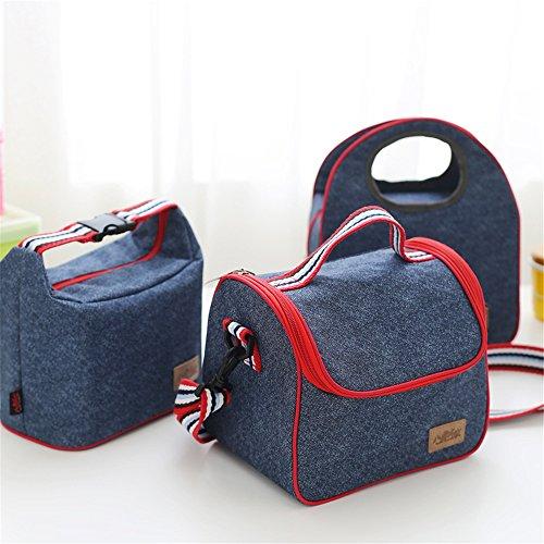 qearly Corea stile grazioso Demin tasche borsa termica da Picnic Kuehl Borsa Lunch Bag per da viaggio, Picnic, spiaggia, acquisti B