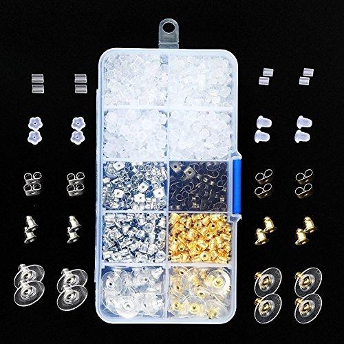 Bullet Earring Backs Kit Xmas Gift Earring Backs Kit Clear Earring Back Rubber Safety Back by Outee, 1040 Pcs