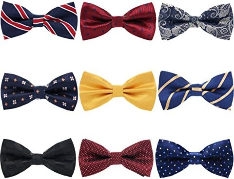 AVANTMEN 9 PCS Pre-tied Adjustable Bow Ties Set for Men Mixed Color Assorted Boys Ties 9 Pack, Style 6