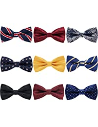 9 PCS Pre-tied Adjustable Men's Bow Tie for Boy in Gift Box Mixed Color Assorted Ties