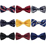 AVANTMEN 9 PCS Pre-tied Adjustable Bowties for Men Mixed Color Assorted Neck Tie Bow Ties (9 Pack, Style 1)
