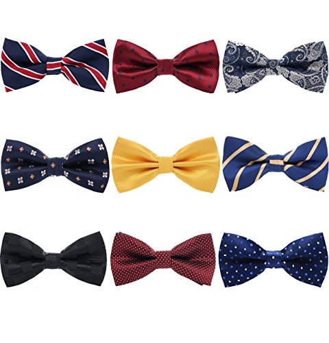 AVANTMEN 9 PCS Pre-tied Adjustable Bowties for Men Mixed Color Assorted Neck Tie Bow Ties (9 Pack, Style 1) ()