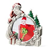 WorldWide Selection Home - Metal Photo Frame/Picture Frame, 3.5 x 3.5 inch, Real Clear Glass Front Cover,Christmas Santa Claus, Zinc Patina Plated, Tabletop Vertically
